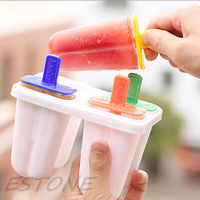 4 Cell Frozen Ice Cream Mold Popsicle Icepop Icy Pole Lolly Maker Tray Pan DIY
