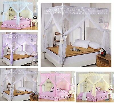 Lace Princess Four Corner Post Bed Canopy Mosquito Netting Or Bracket(Post/Frame