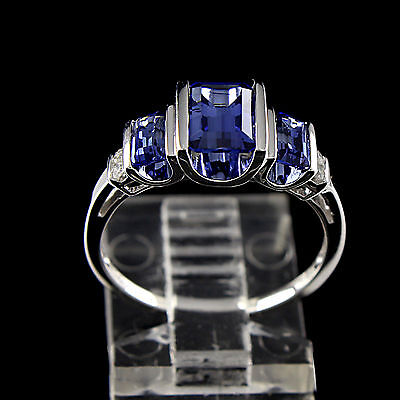 Estate 1.5Ct Baguette Cut Blue Sapphire With Diamond 10K White Gold Ring