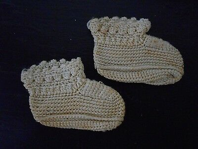 Pair Of Antique Vintage  Baby Booties