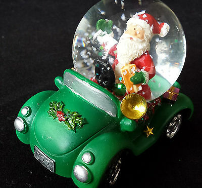 6.5cm Mini Father Christmas in a Car Snow Globe Decoration Gisela Graham Santa