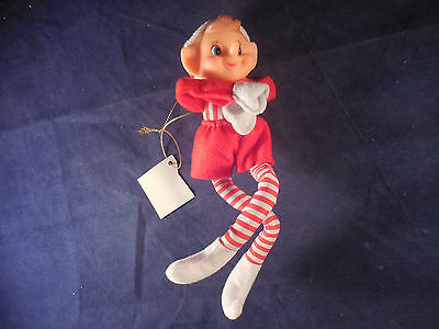 """8 1/2"""" reproduction pixie ornament new with tags red and white with stripe legs"""