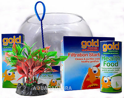 Interpet Complete Goldfish Bowl Kit Tap Safe Food Net Filter Glass Fish Aquarium