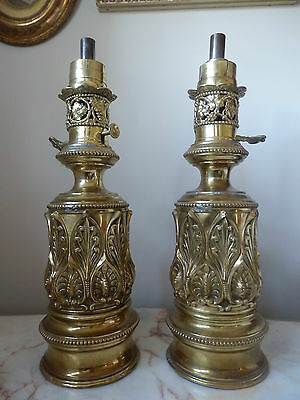 A Rare Pair Of Napoleon French Empire Chateau Cylindrical Embossed Oil Lamps