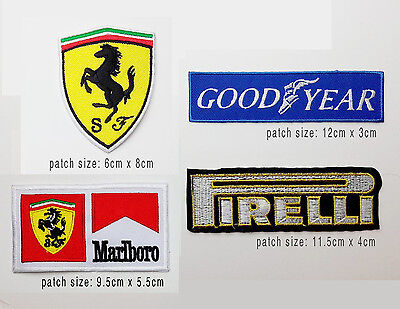 FERRARI Motorsport Racing Team Patch Set - Set of 4 Different Race Patches - NEW
