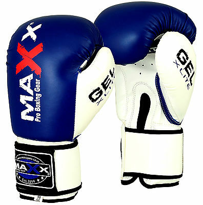 Maxx Maya Hide Leather Boxing Gloves Integrated Gel Padded Sparring Ufc BLUE/WHT