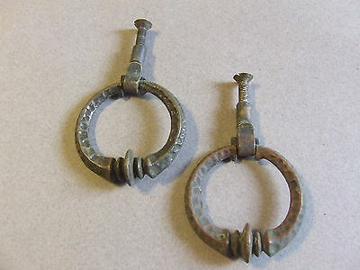 2 Antique Art Deco Hanging Drawer Pull Ring Pull Knob metal (h31)