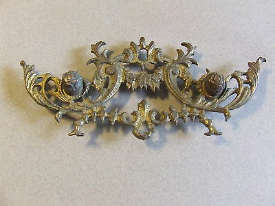 Antique Art Deco Ornate Brass Drawer Pull Backplate Steampunk Upcycle (H23)