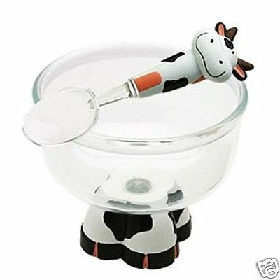Joie MSC Cow Ice Cream Bowl & Spoon Serving Dining Kitchen Home Gift