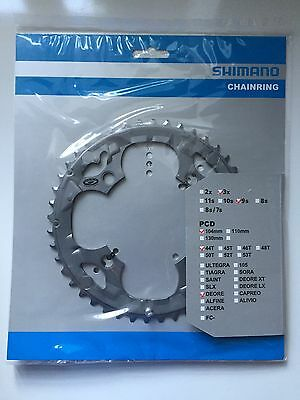 Shimano 44T Mega 9 Speed Chainring Deore FC-M590 Grey Y1LD98100 104mm BCD