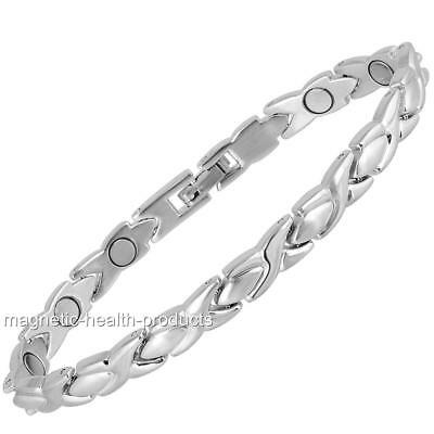 Ladies Magnetic Healing Bracelet Silver Kisses Bangle Arthritis Pain Relief 95