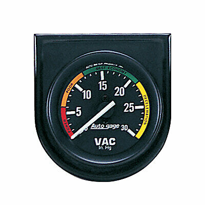 "Auto Meter 2337 Vacuum Gauge 2"", 30 In. Hg, in Steel Panel, Blac"