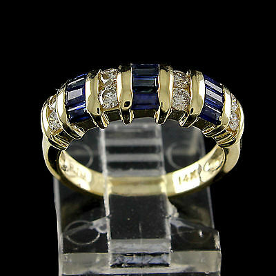 Estate 1Ct Blue Sapphire Buguette With Diamond 14K Solid Yellow Gold Band Ring