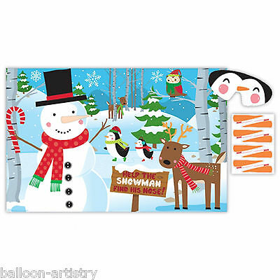 Merry Christmas Cheerful Snowman Stick Pin The Nose Children's Poster Party Game