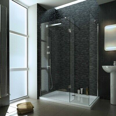 1600 x 900mm Walk In 8mm 3 Screen Wet room Shower Enclosure With Tray and Waste