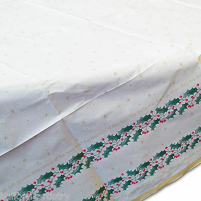 120cm Classic Christmas Party Holly Holy Script Disposable Table Cover x10