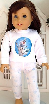"Frozen Olaf Pajamas for American Girl Doll 18"" Clothes & Accessories SET"