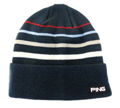 NEW Ping Knit Coast Roll Navy/White/Red Beanie Golf Toboggan