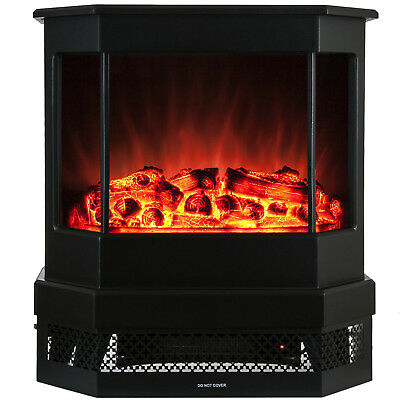 "23"" Electric Fireplace 1500W Adjustable Tempered Glass Freestanding Logs Insert"
