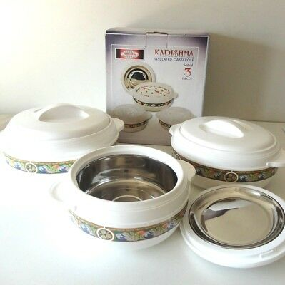 Food Warmers 3 Piece Set Stainless Steel  Insulated  Excellent Quality