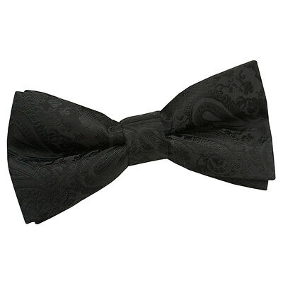 New Dqt Paisley Black Mens Pre-Tied Wedding Bow Tie