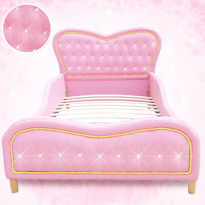 Pink Heart Kids Girls Boys Standard Single PU Leather Diamond Upholstered Bed