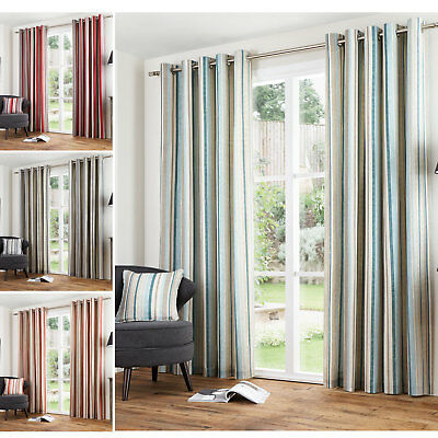 Vertical Stripe Cotton Lined Eyelet Curtains - Ready Made With Ring Top Heading