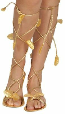 Ladies Fancy Dress Gold Sandals Womens Greek Roman Egyptian Cleopatra Goddess