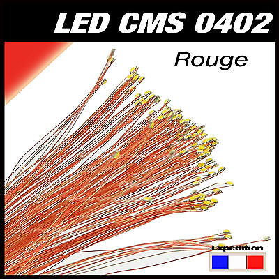 C144R# LED CMS pré-câblé 0402 rouge fil émaillé 5 à 20 pcs  - red prewired LED