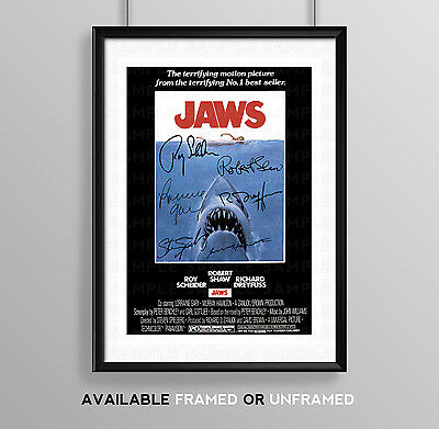 Jaws Cast Signed Autograph Print Poster Photo Movie Film Stephen Speilberg
