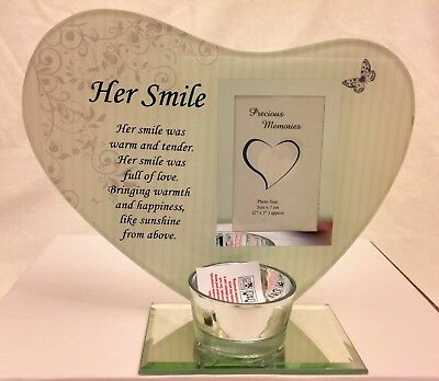 Memorial Glass Photo Frame with Verse and Tea Light Candle Holder