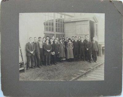 Antique Cabinet Photo, Group of Workers Near Warehouse and Railroad Tracks