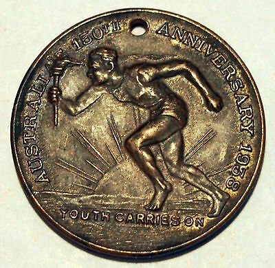 1938 Australia's 150th Anniversary Medallion - Youth Carries On