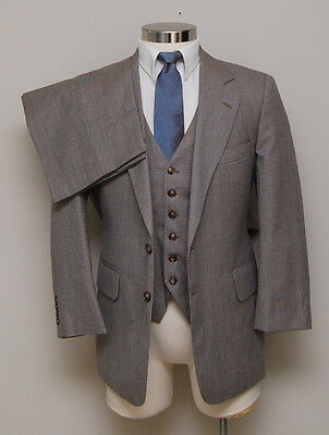 VIntage Mens 38S Hudson's 3 Piece Brown Check Wool Suit