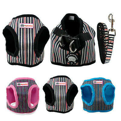 Cute Stripe Puppy Dog Vest Harness and Walking Lead Set for Yorkie Chihuahua