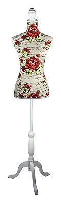 TC1410150 | Red Floral Classic Script Dressmaker's Mannequin | White Wood Stand