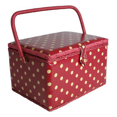 NEW | Hobby Gift MRL/22V | Cream Spot On Dark Red PVC Coated Large Sewing Basket