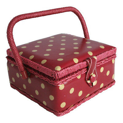 NEW | Hobby Gift MRS/22V | Cream Spot On Dark Red PVC Coated Small Sewing Basket