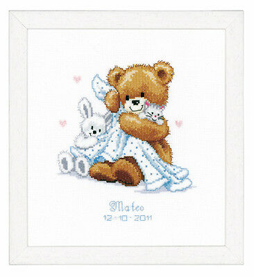 Vervaco 2002/70.332 Teddy & Blanket Birth Record Counted Cross Stitch 20x22cm