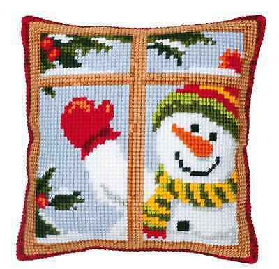 Vervaco 1200/140 Snowman Thru Window Cushion Front Cross Stitch Kit 40cm Approx