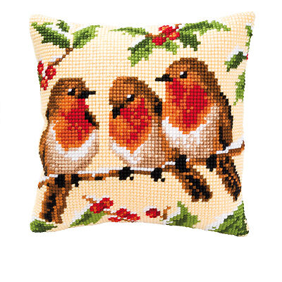 NEW | Vervaco 1200/913 Canvas Winter Robins Cushion Front Cross Stitch Kit 40cm
