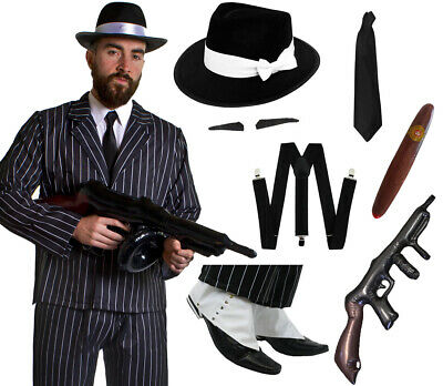 Deluxe 10 Piece Gangster Costume Mens 1920's Fancy Dress Adult Mafia Al Capone