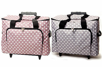 Spacious Polka Dot Sewing Machine Trolley Bag With Wheels, Handle And Pockets