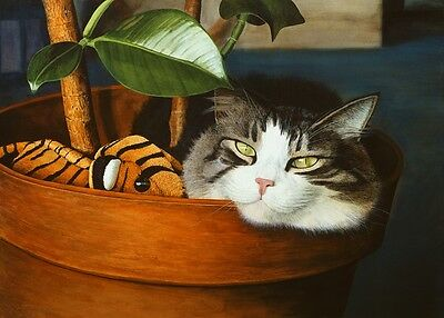 """""""Basil's Baby"""" Matted Limited Edition Tabby Cat Print CatmanDrew Drew Strouble"""