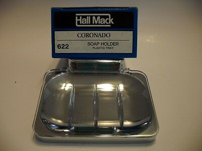 Vintage NOS CHROME SOAP DISH Holder w Plastic Tray Wall Mount Style Hall-Mack