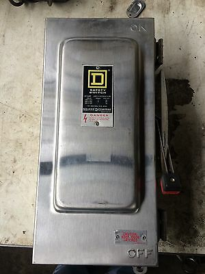 Square D Stainless Hu362ds 3 Pole 60 Amp  600 V Disconnect