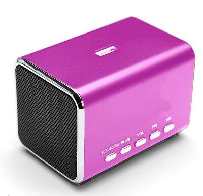 Aluminium Portable Travel Speaker Built-in Battery USB AUX For iPhone MD5 PINK