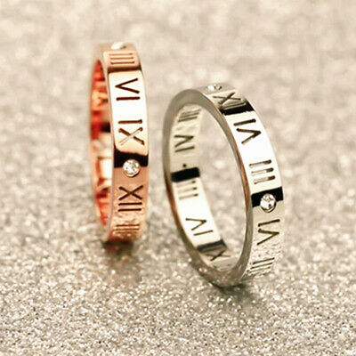 18K White / Rose Gold GF Roman Numerals Crystal Wedding Engagement Band Ring