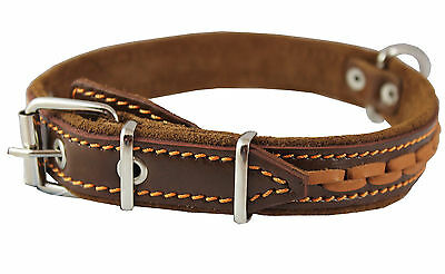 """High Quality Braided Leather Dog Collar 1"""" wide 14""""-18"""" neck"""