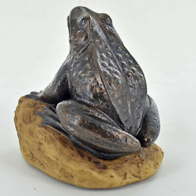 Bronze Pond Frog On A Stone Statue Sculpture Ornament 07033